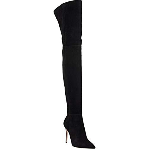 nee Schenkelhoch Über Das Knie Oberschenkel hoch Stiefel Stöckelabsatz Hoher Absatz Schwarz Braun Grau Wildleder Größe 35-46, Black ()