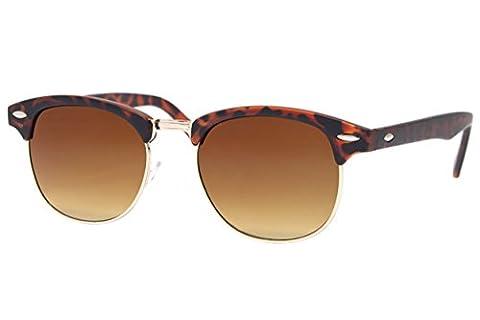 Cheapass Sonnenbrille Clubmaster Braun UV400 Gradient Gläser Vintage Design Leo-Print