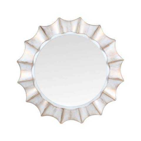 Art Deco Home - Espejo Pared Circular Dorado Blanco