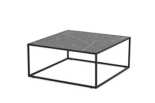 MORE DESIGN Table Basse, MDF/Métal, Effet Marbre Noir Brillant/Piètement Noir, 80 x 35 x 80 cm