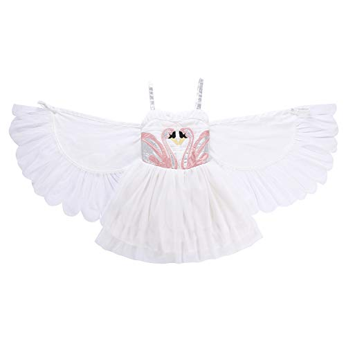Swan Princess Kostüm - Lee Little Angel Swan Wings Performance Dress Angel Flamingo Princess Slip Dress (140, E40)