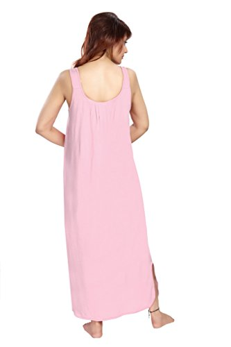100% Cotton Women's Regular Fit Nighty Gown Slip in Pink Color With Broad Strapes & Round Neck Night Inner Wear in Size XXL by City Girl PLUS  available at amazon for Rs.325