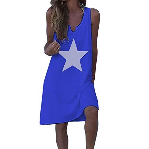 Jersey Ärmellos Cap (Kleider Damen Sommer Elegant Knielang, Einfarbiges A-Linie Sommerkleid für Frauen Kurz V-Ausschnitt Ärmelloses Freizeitkleider Mädchen Baumwolle Leinen Einteiler Strand Party Home (3XL, Blau 1622))