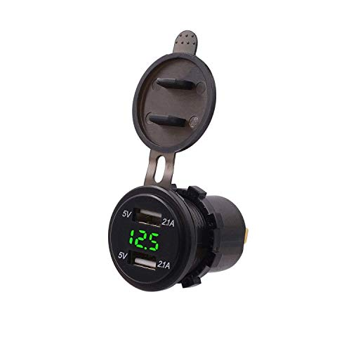 ZGYQGOO Dual USB Ladebuchse Auto Boot Marine Motorrad Wohnmobile Traktoren Steckdose Led Digitalanzeige Mit Voltmeter 12 v / 24 v Wasserdicht