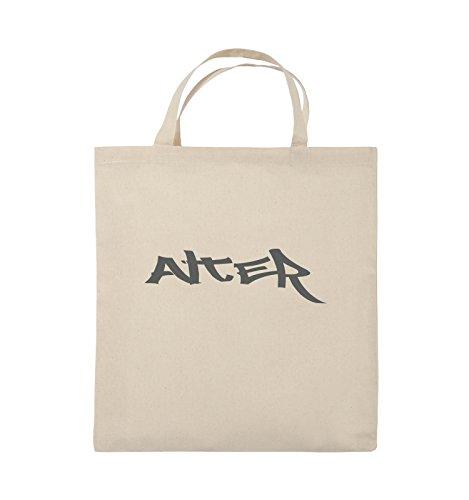 Comedy Bags - ALTER - GRAFFITI - Jutebeutel - kurze Henkel - 38x42cm - Farbe: Schwarz / Silber Natural / Grau