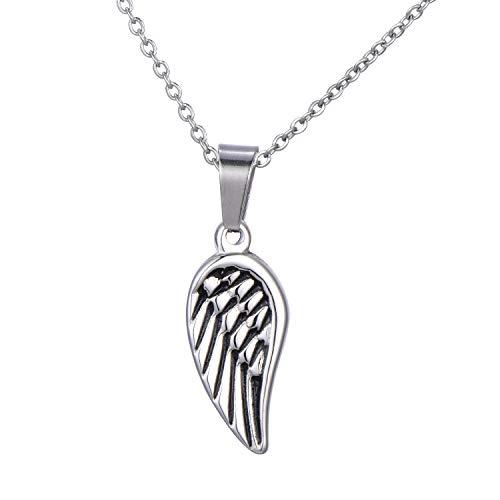 Morella Collar Mujeres con Colgante Alas de ángel de Acero Inoxidable Plateado en Bolsa de Terciopelo