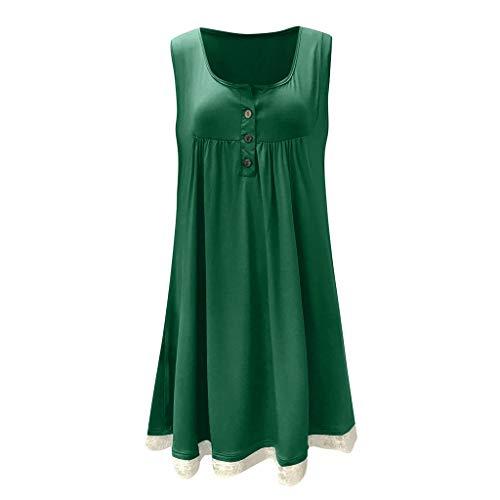 CUTUDE Damen Kleider Röcke Kurzarm Sommerkleider Frauen Plus Größe Spitze Freizeit Taste ärmellos über dem Knie Kleid Lose Minikleid (Grün, ()