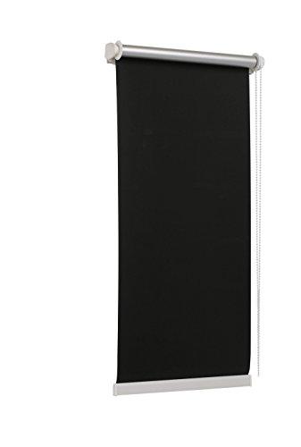 TEXMAXX - Reflect - Verdunklungsrollo Thermorollo Sichtschutz - 95 x 160 cm (Stoffbreite 91 cm) - Rollos für Fenster ohne Bohren inkl. Zubehör - in SCHWARZ