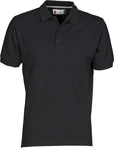Ein-knopf-kurzarm-polo-shirt (PAYPER Herren Polohemd Venice 100% Baumwolle Größe S bis 5XL Kurzarm 3 Knöpfe Nackenband, Farbe:Black;Größe:XXL)