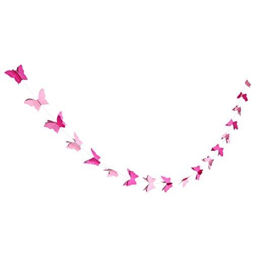 Gazechimp Papier Schmetterling Wimpel Girlande Süße Bunting Wimpelkette Dekor - Rosa, 2,8 m