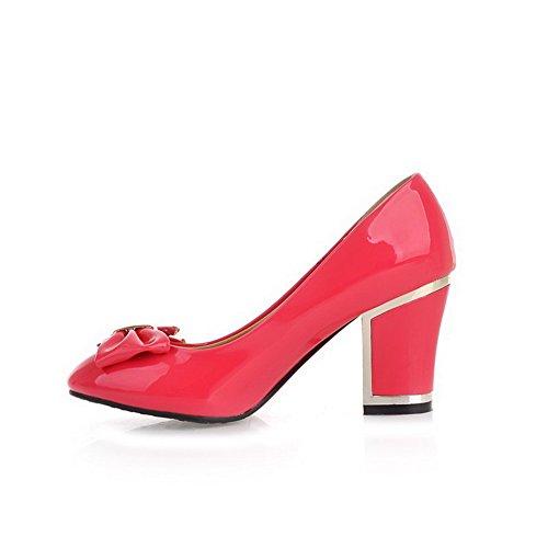 VogueZone009 Femme Rond Tire Pu Cuir Couleur Unie à Talon Haut Chaussures Légeres Rouge