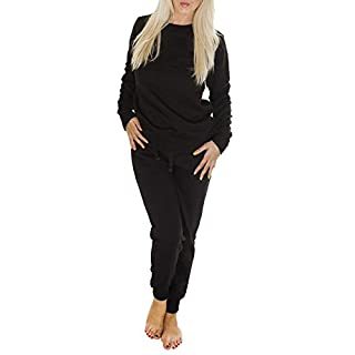 Love My Fashions® Womens Tracksuit Plain Diamante Jogging Bottoms Ladies Sweatshirt Jogging Sport Gym Trouser Long Sleeves Round Neck Size S M L