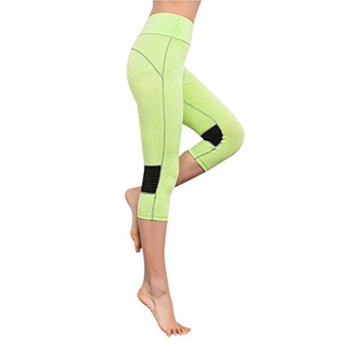 Amlaiworld Femmes Élasticité Pantalons de Sport Leggings de Sport, Yoga, Pilates, Plank, Jogging et Fitness Vert