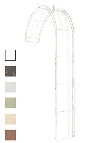 CLP Rosenbogen Pietro halbrund zur Wandbefestigung | Wand-Rankhilfe aus massivem Eisen Antik Creme, 160 x 40 x 270 cm