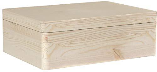 Creative Deco XL Große Holz-Kiste Holzbox mit Deckel Erinnerungsbox | 40 x 30 x 14 cm | ohne Griffen | Aufbewahrungs-Box Spielzeugkiste Unlackiert Kasten | Ideal für Spielzeuge und Werkzeuge