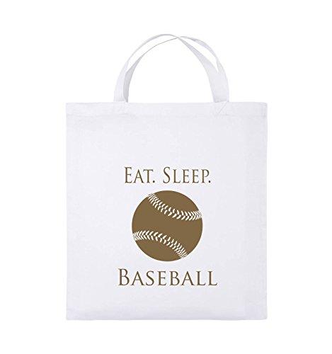 Comedy Bags - EAT. SLEEP. BASEBALL - BALL - Jutebeutel - kurze Henkel - 38x42cm - Farbe: Schwarz / Pink Weiss / Hellbraun