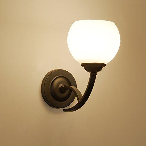 GUORZOM Retro Wandleuchten Schwarz LED Wandleuchte Glas Lampenschirm 85-265V Wohnzimmer Schlafzimmer Kopfteil Wandleuchte Dekoration E27 (Birne Gold-wandhalterung)