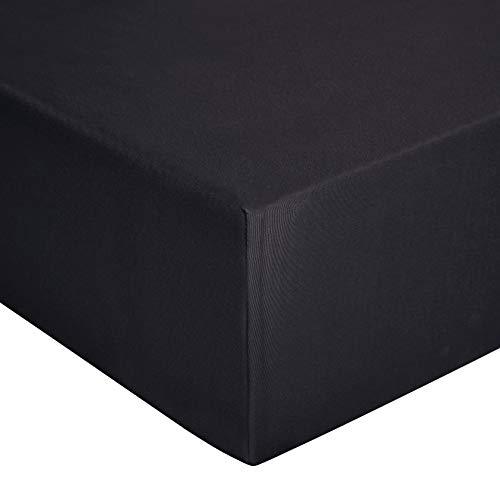 AmazonBasics - Spannbetttuch, Jersey, Schwarz - 90 x 200 cm Schwarz 90