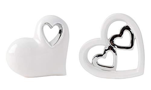 Lifestyle & More Herz Skulpturen Dekofiguren Set 2 Stück aus Keramik weiß/Silber Höhe 12 cm Breite 12 cm -