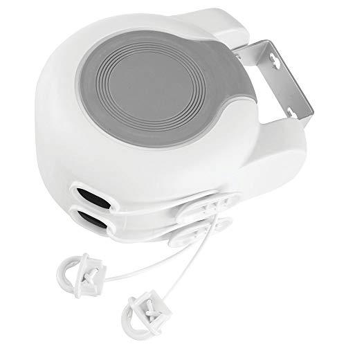 MetroDecor mDesign Wäscheleine ausziehbar – zweileiniger Wandtrockner für drinnen und draußen – auf je 12,8 m ausziehbare Wäscheleine für Badezimmer, Waschküche, Garten oder Reise – weiß