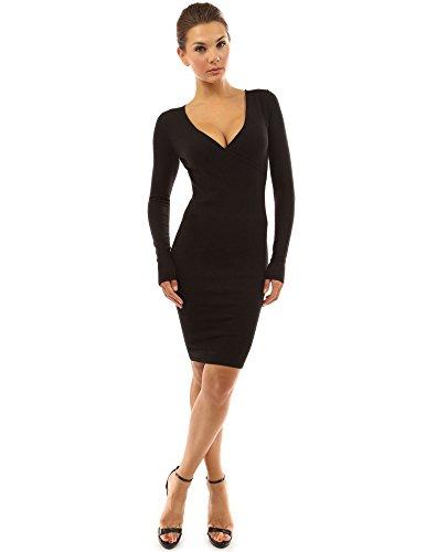PattyBoutik Damen V-Ausschnitt Strick Wickelkleid mit langen Ärmeln (schwarz 46/XL)