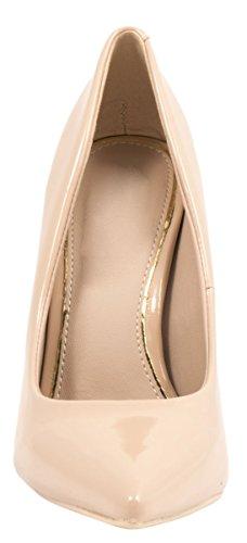 Elara Spitze Damen Pumps | Bequeme Lack Stilettos | Elegante High Heels Beige/Gold