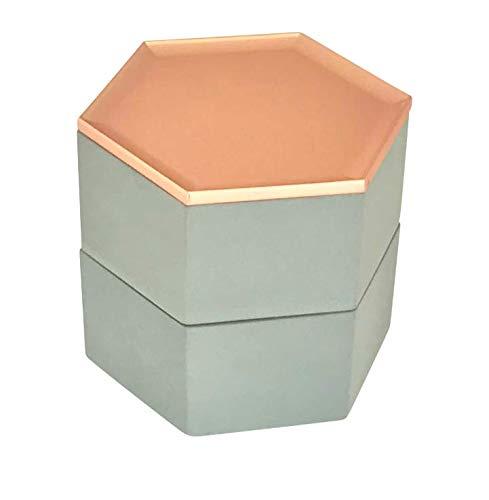 Schmuckkasten Beton Stapelbar - Uhrenbox Damen - Grau - Weiß - Rosegold Deko - Schmuckdose fur Aufbewahrung und Ablage von Ohrringen, Armbander, Ketten und Accessoires (Grau)