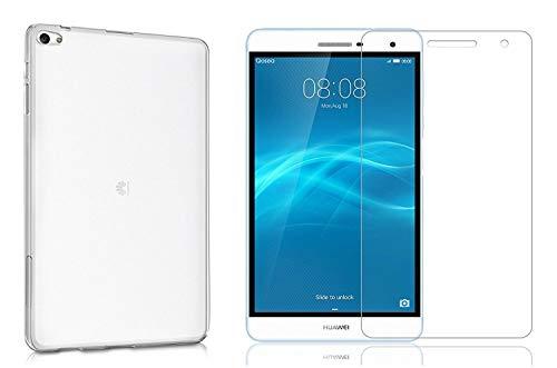 tablet mediapad t2 Domxteck (2 in 1 Pack Custodia Protettiva in Silicone Trasparente per TPU + Proteggi Schermo 9H per Huawei MediaPad T2 7.0 PRO