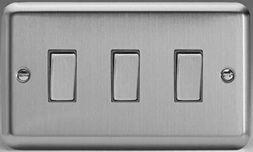 Chrome Light Switch (Varilight XS93D Matt Chrome 3 Gang 10A Rocker Switch (Twin Plate) Light Switch)