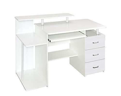 hjh OFFICE 674390 Büro Schreibtisch Stella Weiß Computertisch mit Schubladen & Tastaturauszug 89 x...