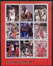 Tatarstan Republic 2000 Michael Jordan perf sheetlet set of 9 values u/m SPORT BASKETBALL JandRStamps