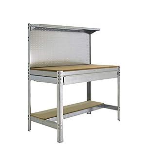 Banco de trabajo BT3 con cajón Simonwork Galva/Madera Simonrack 1445x1210x610 mms – Mesa de trabajo – Banco para taller 600 Kgs de capacidad por estante