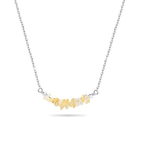 VU100 Heilung Energie Citrin Edelstein Bar Anhänger Halskette natürlichen gelben Kristall 18 Karat Platin beschichtet Silber Chakra Schmuck für Frauen Mädchen - Gelbe Chakra-anhänger