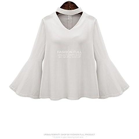 XJoel estate delle donne a maniche lunghe casuale Baggy oversize Fuori-spalla supera Bianco (Knit Poncho Modello)