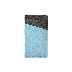 Handytasche aus Filz und hellblauem Kork - passend für Samsung Galaxy S6, S6 Edge, S7, iPhone X und Huawei P8 lite