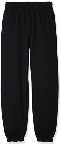 Fruit of the Loom Unisex-Kinder Elasticated Cuff Classic Jogging-Hose, Schwarz (Black 36), 12 Jahre (erPack 2 - Black Classic Fleece Hose