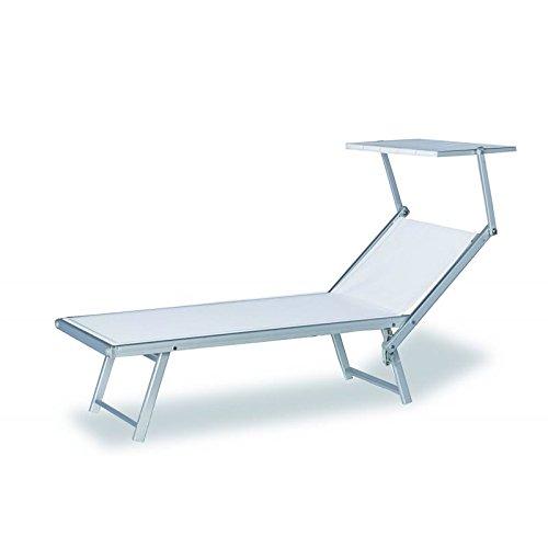 Dimaplast2000 amz024 lettino mare alluminio, bianco, 162x80x29 cm