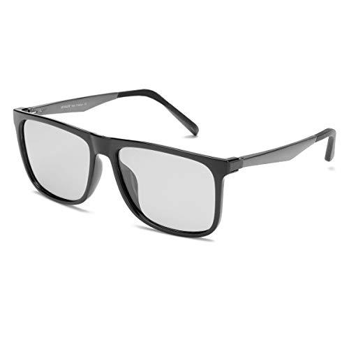 ARLTTH Photochrome Polarisierte Sonnenbrille für Herren Damen Klassische Rechteckige Fassung 100% UVA/UVB-Schutz für den Außenbereich (Helles Schwarz(Photochrome))