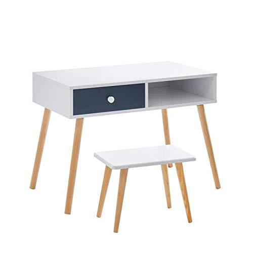 BABETTE Ens bureau droit + tabouret enfant scandinave blanc et gris laqué mat + pieds hévéa massif - L 80 cm et L 40 x P 25 cm