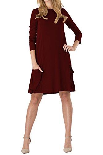 YMING Damen Longshirt Langarm Lockeres Tunika Basic T-Shirt Kleid Loose Minikleid,Burgundy,XL/DE 42-44