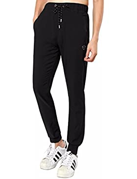 jeansian Hombres Deporte Quick-drying Pantalones Trotar Atletismo Fitness Drawstring Pants Trousers Negro LSS209