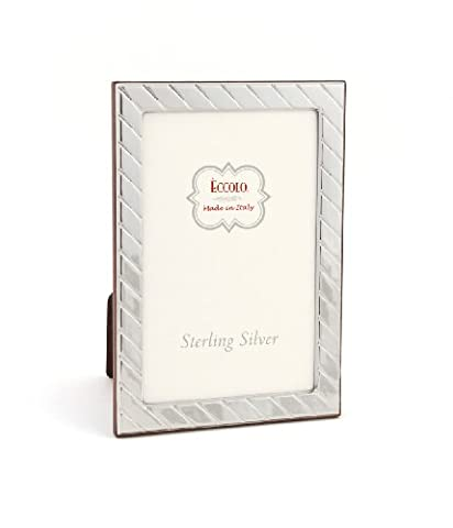 Eccolo Diagonal Sterling Frame That Holds 4 x 6-Inch Photo, Silver