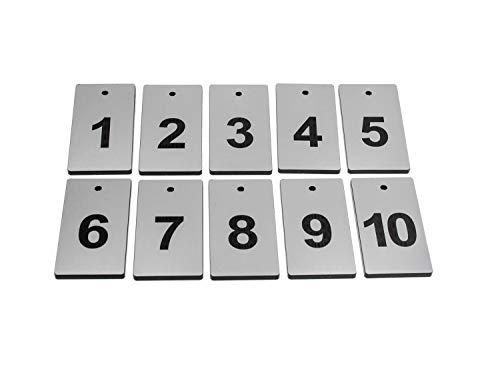OriginDesigned Schlüsselanhänger, Schlüsselanhänger, 10, Silber, rechteckig, gravierte Zahlen, für Hotels, Pensionen, B&Bs, Unternehmen (Bbs Silber)