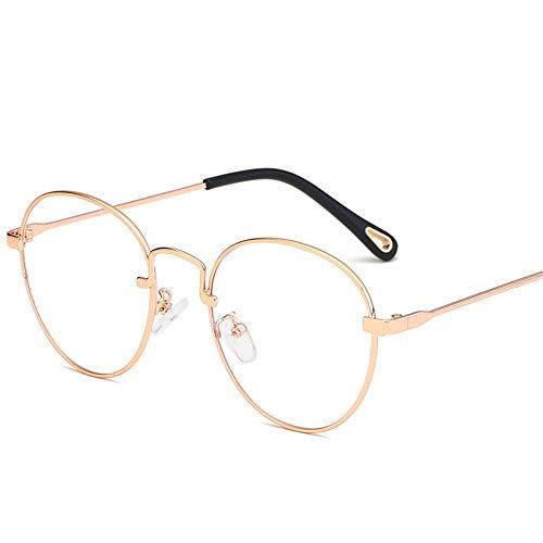 Multi-Frames brillengestell Brillenfassungen Brillen Mode kleiner runder flacher Spiegel ultraleichtes Metall, Roségold-Rahmen