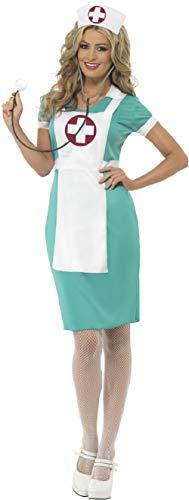 Größe 22 Krankenschwester Kostüm - Fancy Me Damen Notfall-Kostüm Krankenschwester Krankenhaus-Kostüm, rotes Kreuz, Junggesellinnenabschied, Karnevalskostüm, Größe 36-50