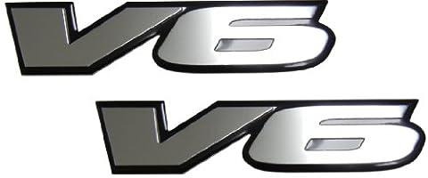 2 x (pair/set) V6 Engine Badge Emblem for Pontiac G6 Grand Prix Firebird Grand AM Cadillac CTS Catera SRX STS