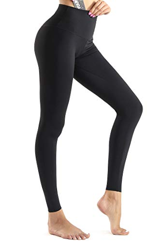 Baumwolle Damen Tasche (Wirezoll Sport Leggings Damen, High Waist Blickdichte Yogahose mit Tasche aus Baumwolle für Yoga, Gym, Laufen, Schwarz, S)