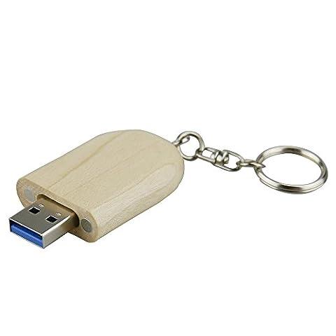 Clé USB 3.0USB 3.0Disque flash stylo de rangement haute vitesse Flash Drive Mémoire Stick en bois massif rond 32 Go