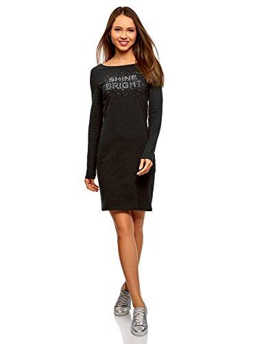 oodji Ultra Femme Robe Moulante en Maille, Noir, FR 44 / XL