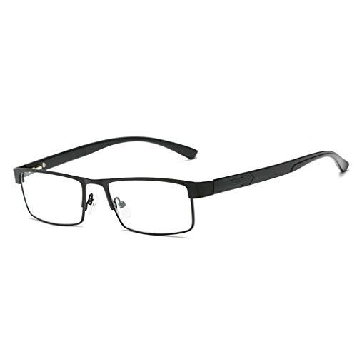 Xurgm Männer Frauen Metall Rechteck Anti-Müdigkeit Lesebrille Presbyopie Brille +1,0 - +4,0 (+2.5, Schwarz)